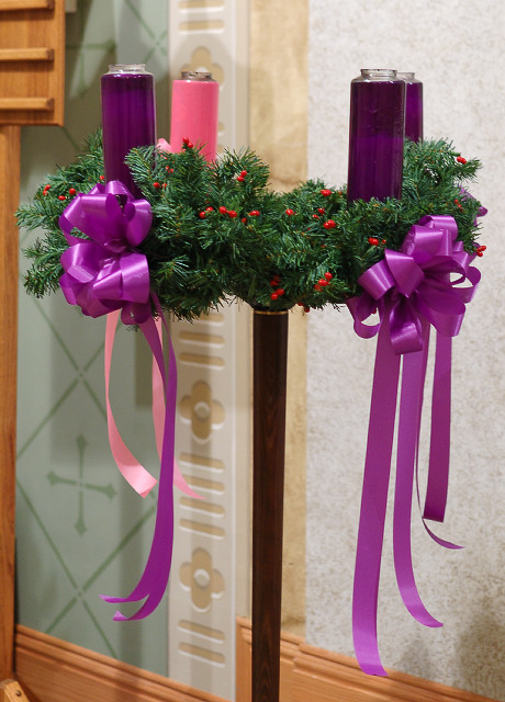 Saint John the Baptist Catholic Church, in Gildehaus, Missouri, USA - Advent wreath