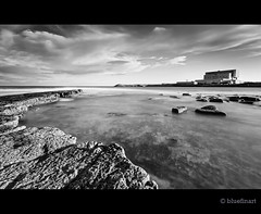 Torness from the dark side (blue fin art) Tags: sea bw water canon scotland lee 7d powerstation eastlothian torness