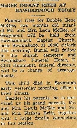 Britt / McGee Baby - Obituary