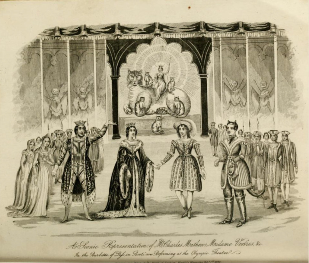 Victorian Theatrical Engraved Plate of 1838: Madame Vestris & Charles Matthews at the Olympic Theatre, London, in a scene from 'Puss in Boots', a burletta of 1838