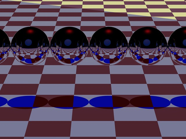 multiple reflective spheres on checkerboard 2