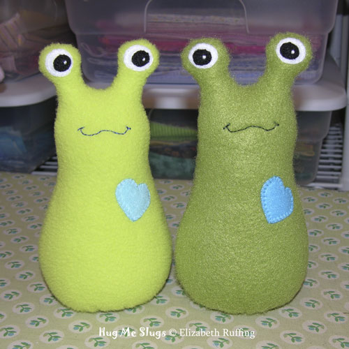 Bright Light Green and Olive Fleece Hug Me! Slugs by Elizabeth Ruffing