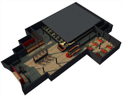 Maquete eletrônica de um boliche - Bloco SketchUp Grátis
