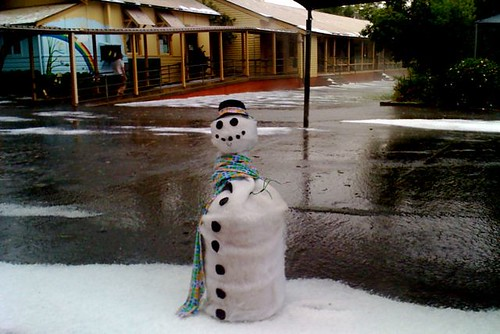 Penrith snowman in a hailstorm