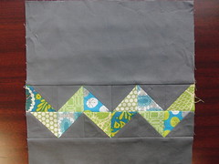 3x6 Bee Block for SayYesJuliet (theplaidscottie) Tags: blue green quilt sewing gray bee quilting block zigzag kona quiltblock zigzagquilt 3x6bee
