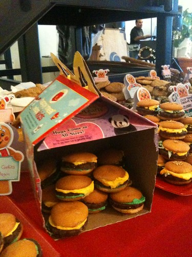 Cheeseburger cookies at home in a happy meal