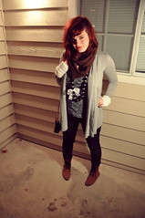 young (madi_moon) Tags: red brown white black girl scarf hair circle hearts photography grey necklace outfit nikon arm boots head gene shaved style lips bow lipstick wardrobe warmers cardigan madi d90 rieck fritzke