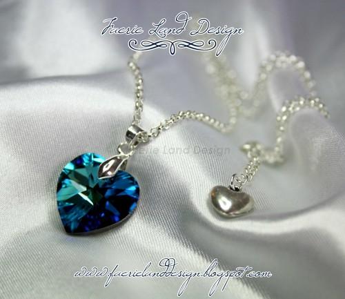 Ciondolo cuore swarovski 18mm - Bermuda blue