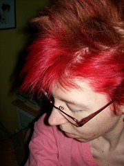 Gooooood Morning! (jazzijava) Tags: morning pink red selfportrait me hairdye coral dark hair photo december skin personal pale redhead human messyhair dye redhair bedhead 2010 dyejob