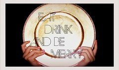 MERRY CHRISTMAS! (DeathBySharpie) Tags: christmas gold hands drink text plate eat 365 merry picnik