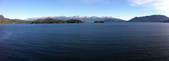 Panoramic taken while on BC Ferries (midnighters) Tags: ocean autostitch moon mountains water bluesky panoramic bcferries iphone4 iphoneography