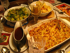 Gravy, sprouts, potatoes and stuffing