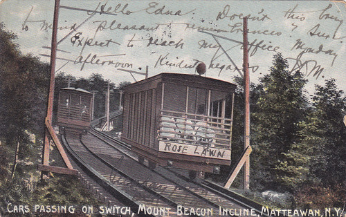 Cars Passing on  Switch Mt Beacon Incline Railway