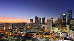 Houston Skyline at Sunset (Jim | jld3 photography) Tags: longexposure windows sunset urban usa streets skyline night buildings photography lights evening nikon downtown cityscape texas nightshot metro dusk houston highrise bluehour metropolitan skyscapers downtownhouston nohdr d700 24mmf14g