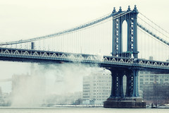 Plowing the Manhattan Bridge, New York City (andrew c mace) Tags: nyc newyorkcity snow newyork brooklyn day manhattan snowstorm dumbo manhattanbridge eastriver plow blizzard plowing nikkor70300mm colorefex nikoncapturenx nikond90