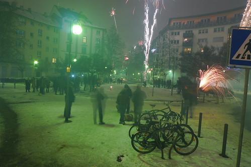 Silvester 2010 im Schnee am Luisenplatz