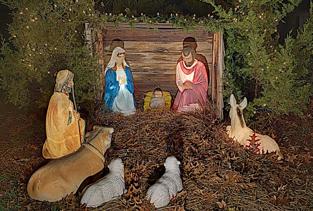 Christ the Savior Roman Catholic Church, in Brewer, Missouri, USA - Christmas manger