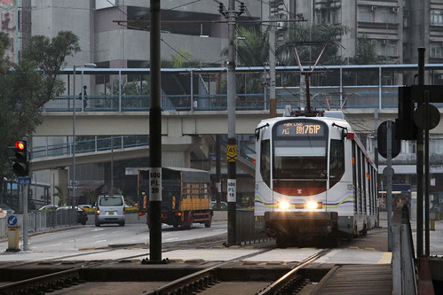 Phase 4 LRV 1120 and classmate arrive at Yuen Long station on route 761P
