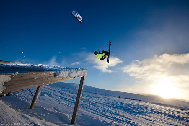 "Bjørn Kaupang backflipping of a wooden structur at a the ""Skolevika"" rest area along Highway 7, Hardangervidda, Norway"