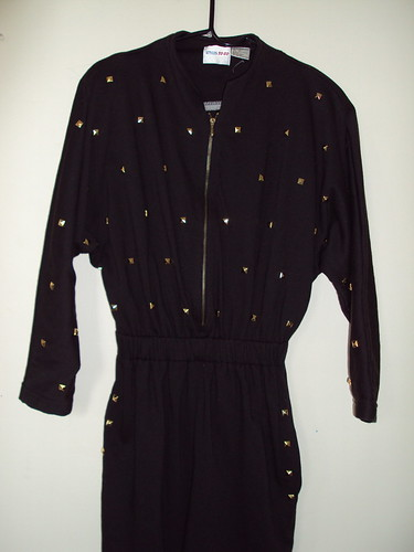 Gold Studded Zip-up Jumpsuit (detail)