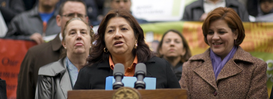 PHOTO: MRNY member Gladys Puglia speaks at safe housing press conference.