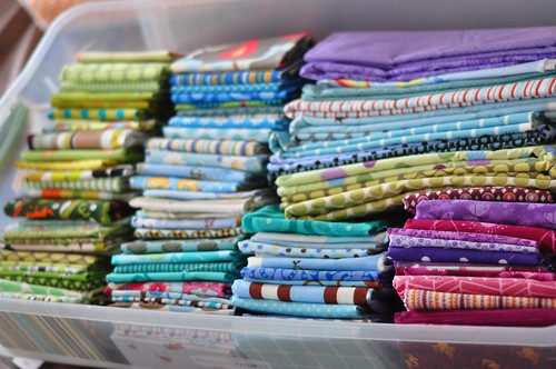 My Fabric Stash: green, blue, purple