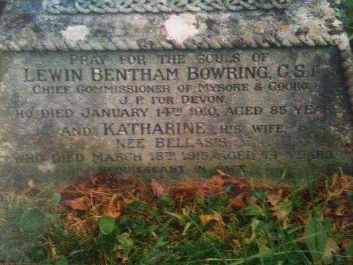 Headstone of Lewin Bentham & Katherine Bowring nee Bellasis