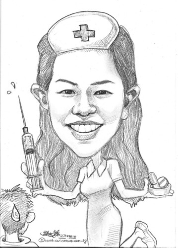 nurse caricature in pencil