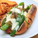 Hot Dogs with  Poblanos, Pepper Jack and Tomatillo Salsa