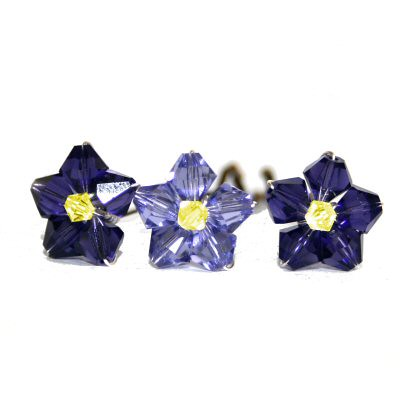 Purple and yellow flower pins by Starstruck Designs