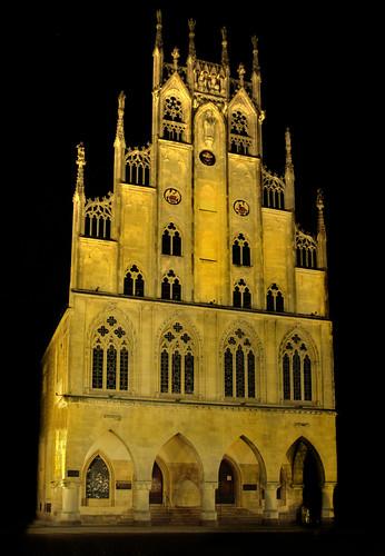 Münster - Rathaus bei Nacht