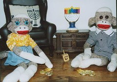 Hanukkah Sock Monkey Style (monkeymoments) Tags: coins sockmonkeys monkeys hanukkah menorah dreidel animalhumor holidayhumor monkeyhumor