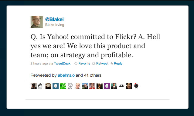 Q.  Is Yahoo Comitted to Flickr