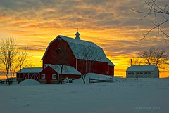 Sundown on the Farm (Doug Wallick) Tags: trees winter red snow wisconsin barn rural fence sundown farm garage wreath picnik lightroom ripon a230 mygearandmepremium mygearandmebronze mygearandmesilver mygearandmegold mygearandmeplatinum mygearandmediamond bestofblinkwinners artistoftheyearlevel4
