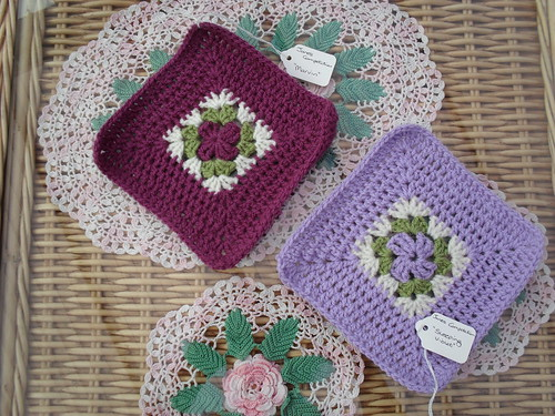 'Marvin' (Left) by Debbie Cooper. 'Sleeping Violet' (Right). Beautiful Squares for Janes competition over on SIBOL.