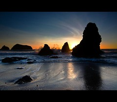 rodeo beach (Matt Kawashima) Tags: ocean sanfrancisco california park sunset sea beach wet water rock landscape golden sand gate san francisco fran area rodeo marincounty recreation northern rodeobeach