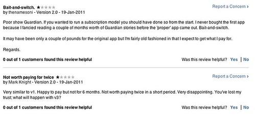 Guardian app - iTunes comment