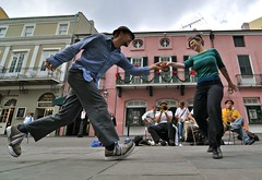 Dancing the Lindy Hop (The Nomad Within (Pete DeMarco)) Tags: street new usa club french video orleans time jazz smoking quarter hop performers lindy sibemolle