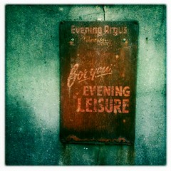 Brighton Argus (badger_beard) Tags: old metal vintage advertising for evening newspaper brighton billboard your rusted leisure decayed scuffed argus scarred iphone hipstamatic