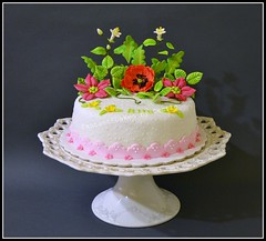 Bright colours Flower Cake (Fantasticakes (Ccile)) Tags: blossom poppy stephanotis sugarflowers fantasyflower