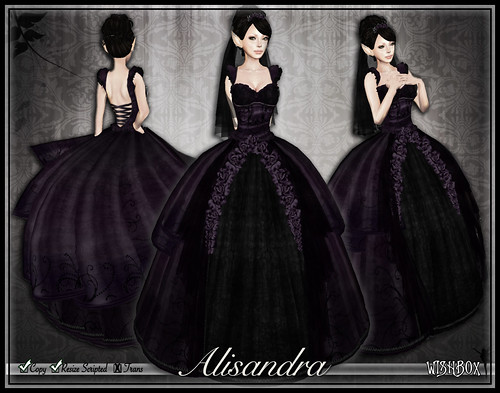 Dark Alisandra Purple Gothic Wedding Dress
