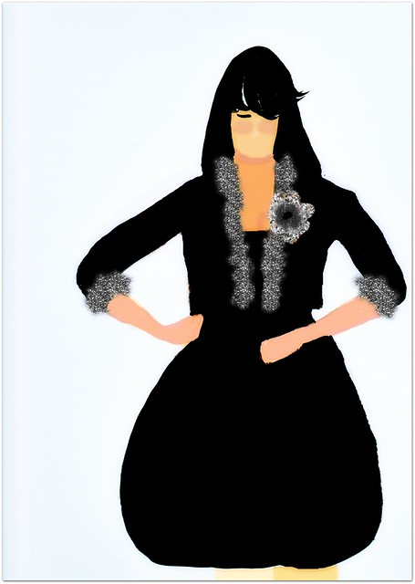 Vintage Runway black dress, with black jacket fur trim
