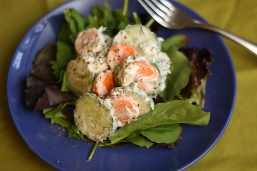 Cucumber and Carrot Salad with Sour Cream and Dill