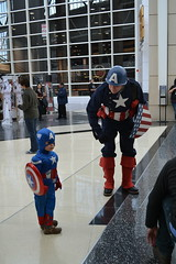 Two Captain Americas (theatregirl25) Tags: chicago nerd place geek mccormick 2014 c2e2 chicagocomicandentertainmentexpo april2014 copyrightangelamartin pleaseaskpermissionbeforeusingmypictures