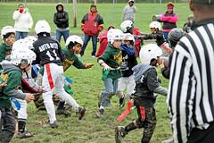 The Rush is On (Cairn 111) Tags: boy activitiy football flag autumn mud play