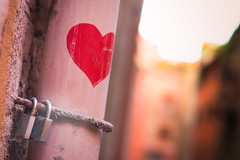 Boheken Heart, Bologna (flatworldsedge) Tags: pink red blur love concrete canal rust heart bokeh grain peach stained drain bologna torn crumble canon50mmf18 scratched padlock corrosion lovevs yahoo:yourpictures=hiddencityplaces