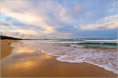 Golden Sands (aumbody images) Tags: ocean light sunset sea vacation sky holiday color colour reflection beach nature water clouds landscape sand surf waves rosepetal noosaheads beachscape thepinnaclehof noosamainbeachqueenslandaustraliaaumbodyimages tphofweek74