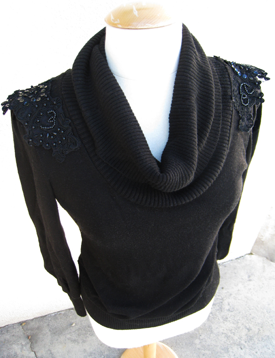 DIY holiday sweater with shoulder sequins -9
