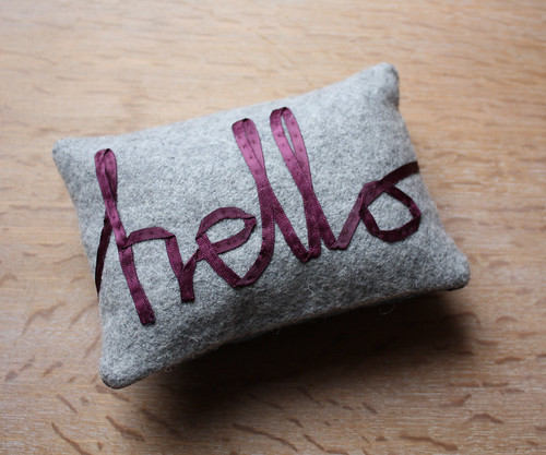 hello - ribbon lettering mini pillow