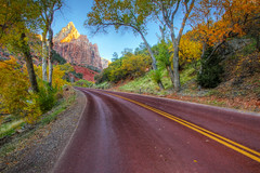 "Highway approaching Court of the Patriarchs - Zion NP (IronRodArt - Royce Bair (""Star Shooter"")) Tags: road park travel autumn trees vacation fall court landscape highway scenic national zion curve byway patriarchs"